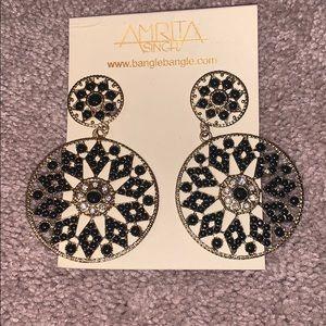 Amrita Singh large gold and black dangle earrings